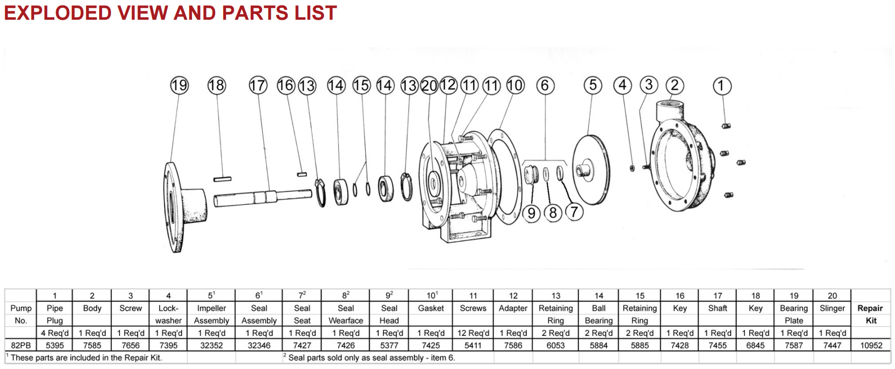 82PB Exploded View and Parts List