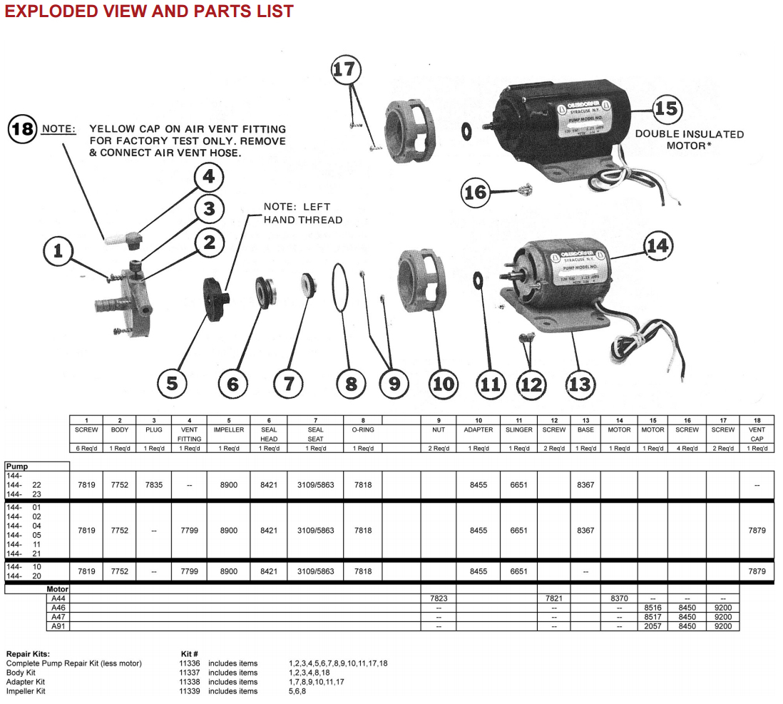 144 Exploded View and Parts List