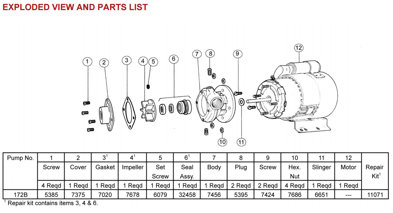 Oberdorfer 172B Exploded View and Parts List